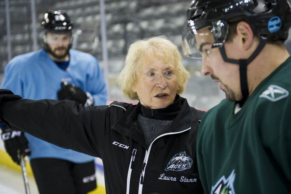Skating technique instructor Laura Stamm works with Alaska Aces player Tommy Olzcyk, right, at Sullivan Arena on February 7, 2017. (Marc Lester / Alaska Dispatch News)