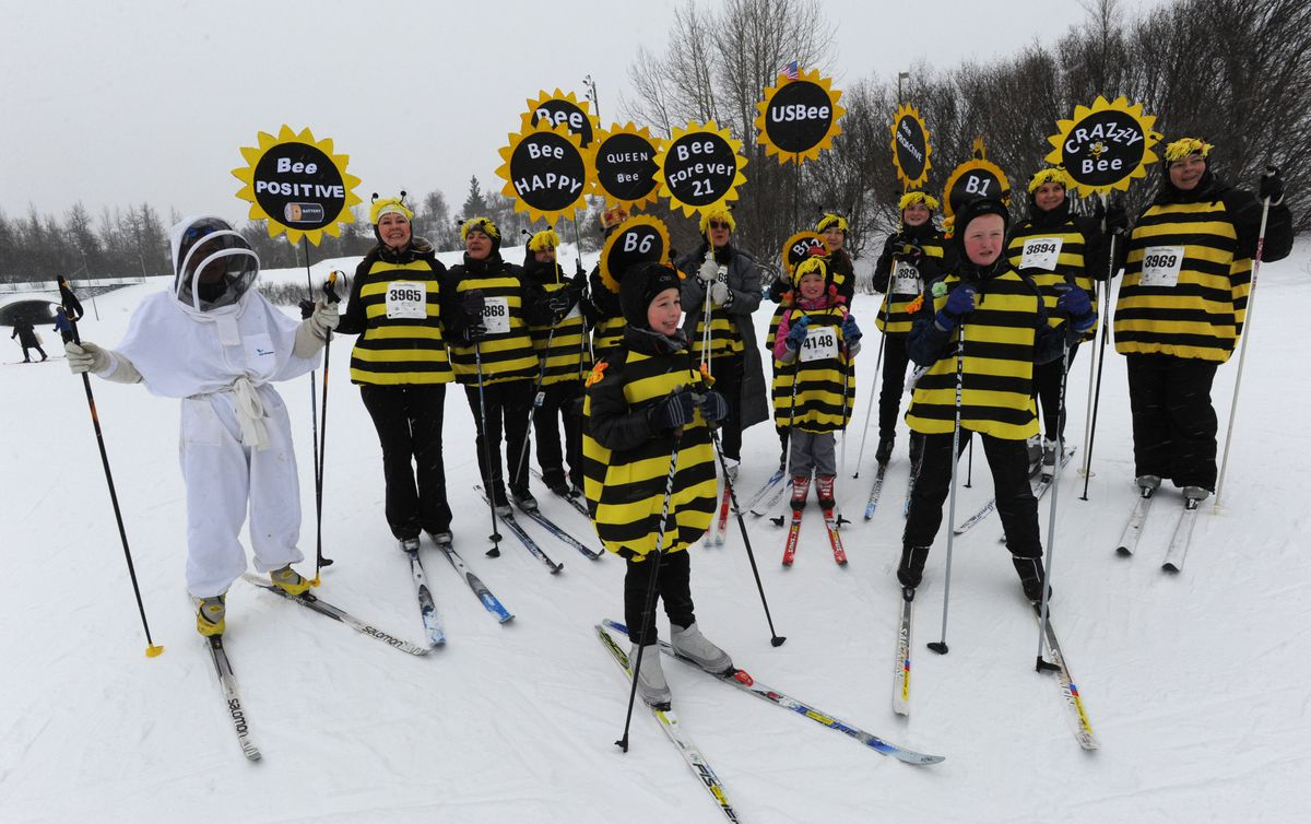Costume are a big part of the Alaska Ski for Women, which celebrates its 24th anniversary Sunday at Kincaid Park. (Bill Roth / ADN archives)