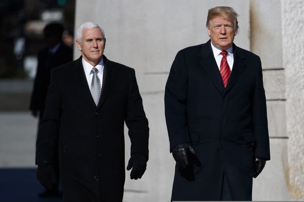 President Donald Trump and Vice President Mike Pence visit the Martin Luther King Jr. Memorial, Monday, Jan. 21, 2019, in Washington. (AP Photo/ Evan Vucci)