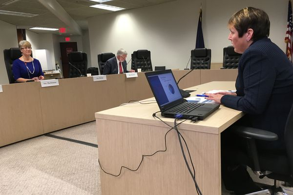 Angela Rodell, CEO of the Alaska Permanent Fund Corp., testified Wednesday to the Senate Finance Committee in Anchorage. (Charles Wohlforth / ADN)