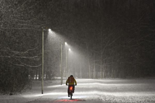 A cyclist travels eastbound on the Chester Creek Trail during a snowfall on the morning of December 2, 2019. (Marc Lester / Anchorage Daily News)