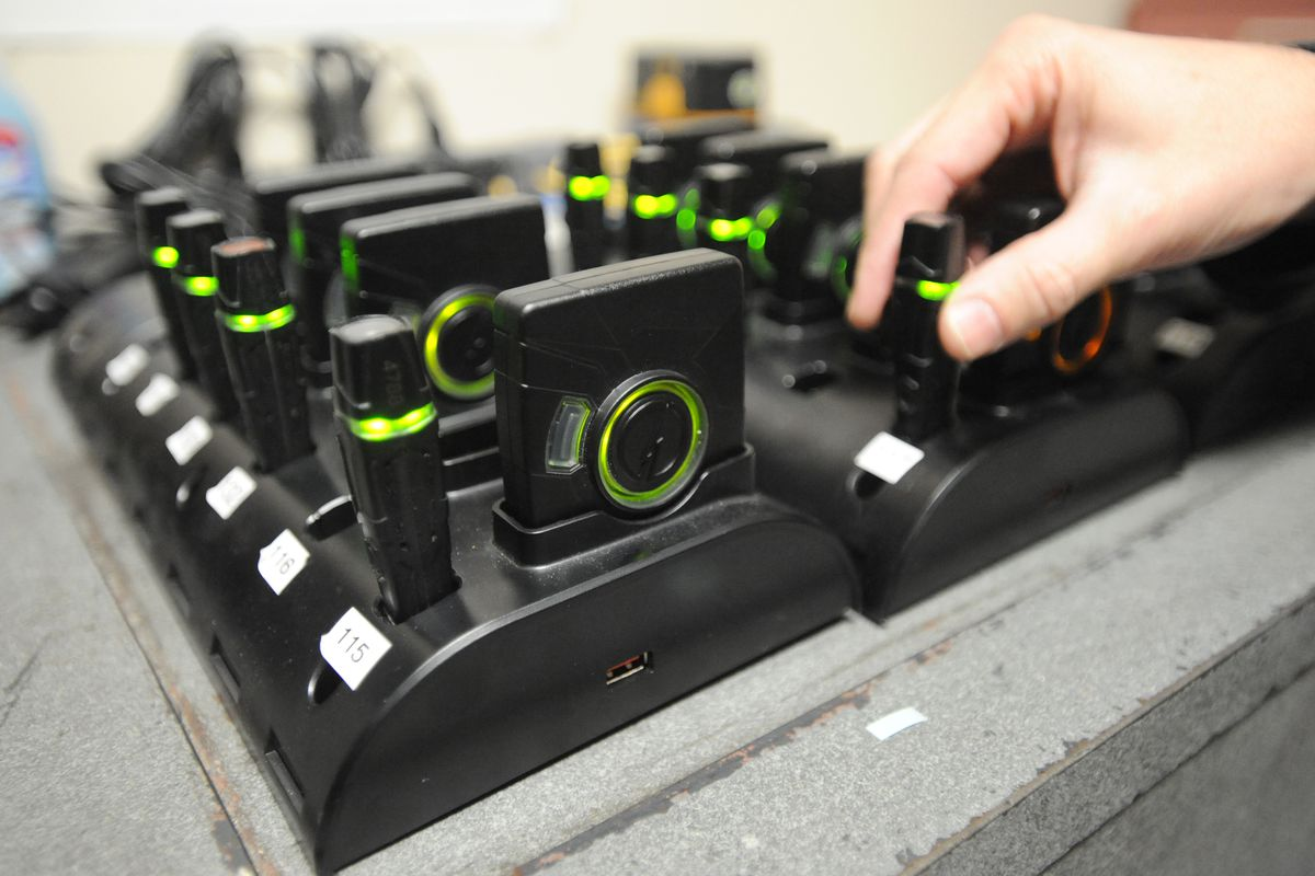 University Police Department officers on the UAA Campus have been wearing on-body video cameras that records wide-angle video since January 2013. Cameras and recorders are placed in a dock after an officers shift where the batteries are charge and the data is automatically uploaded to a cloud storage. Thursday, Oct. 1, 2015.
