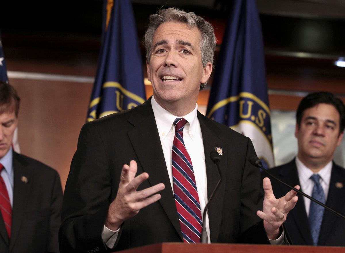 FILE - In this Nov. 15, 2011, file photo, former U.S. Rep. Joe Walsh, R-Ill., gestures during a news conference on Capitol Hill in Washington. (AP Photo/Carolyn Kaster, File)