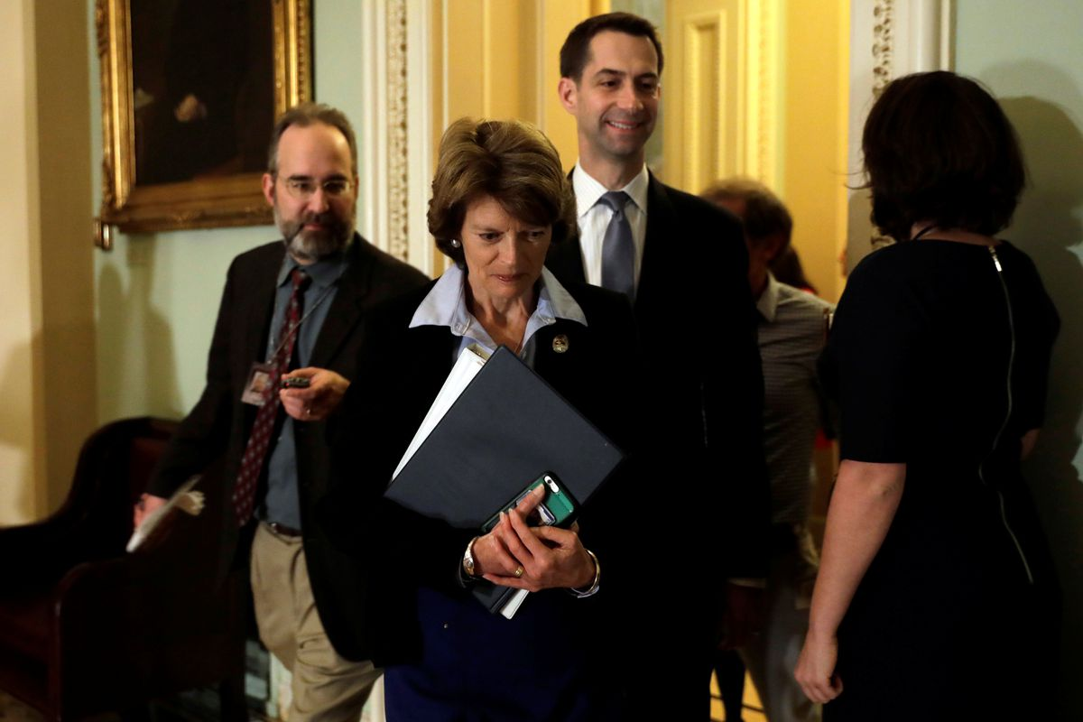 U.S. Sen. Lisa Murkowski, R-Alaska, arrives at the party luncheon on Capitol Hill in Washington, Nov. 14, 2017. (Yuri Gripas / Reuters)