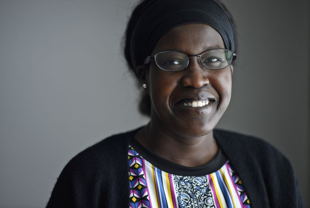 Nyabony Gat is the coordinator for Alaska Literacy Program's Peer Leader Navigator program. They have worked to inform people in Anchorage immigrant communities about COVID-related relief programs and the vaccine rollout. Photographed March 2021. (Marc Lester / ADN)