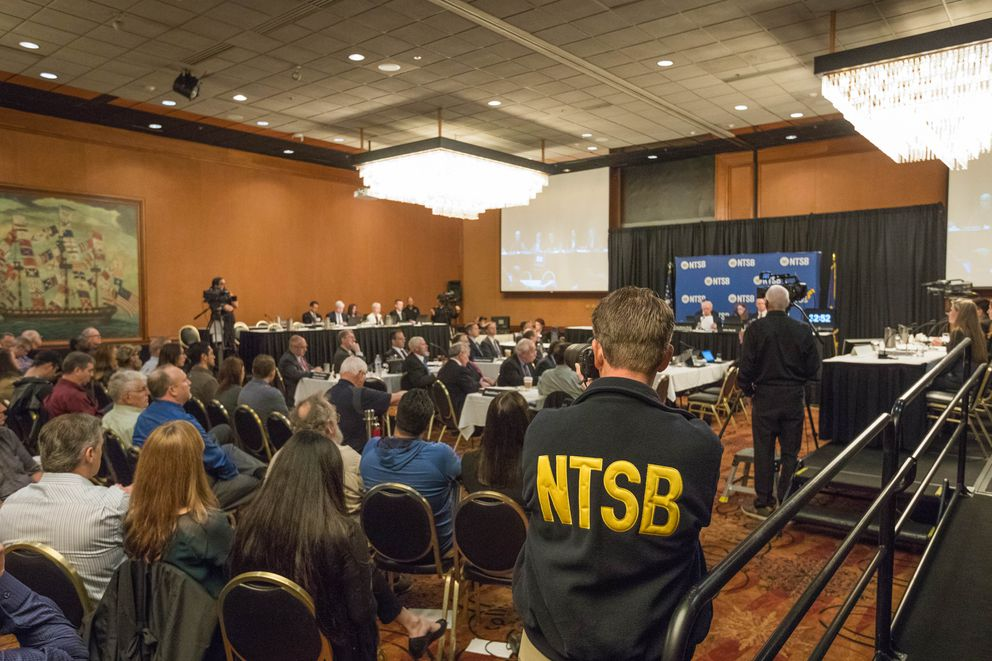 The National Transportation Safety Board holds a hearing into the October 2016 Hageland plane crash near Togiak on Thursday. (Loren Holmes / Alaska Dispatch News)