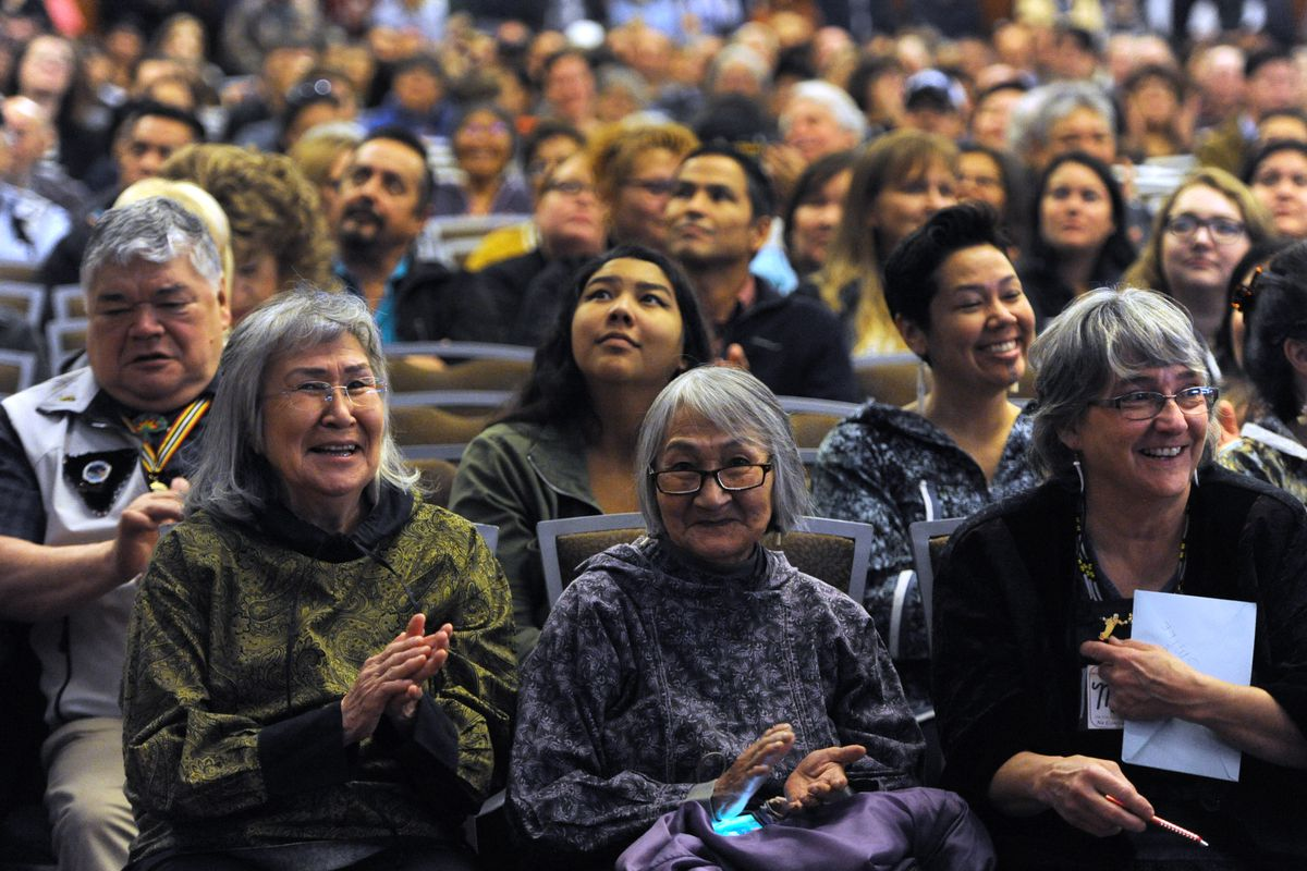 Delegates applaud during keynote address by Lt. Gov. Valerie Davidson during the AFN Convention in the Dena'ina Center on Thursday. (Bill Roth / ADN)