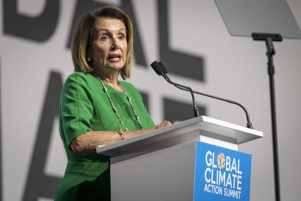 House Minority Leader Nancy Pelosi, D-Calif., speaks during the Global Climate Action Summit in San Francisco on Sept. 13, 2018. MUST CREDIT: Bloomberg photo by David Paul Morris