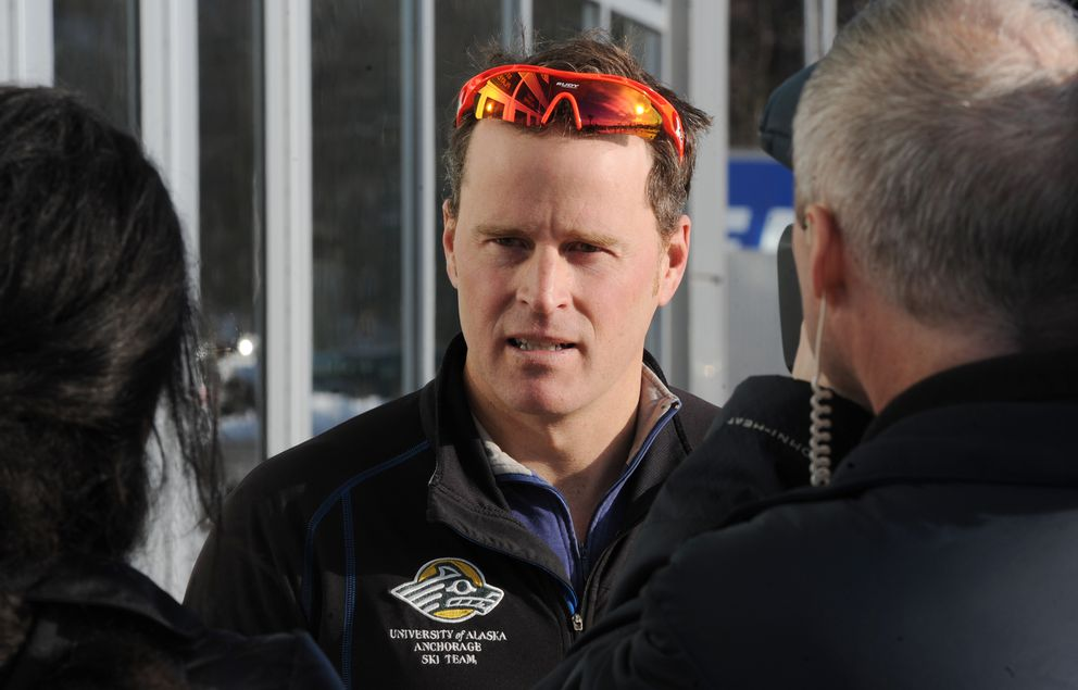 "Andrew Kastning, UAA's nordic coach, is interviewed outside the Alaska Airlines Center after learning about the elimination of the men's and women's skiing. ""It's kind of like learning about a death in the family,"" Kastning said. (Bill Roth / Alaska Dispatch News)"