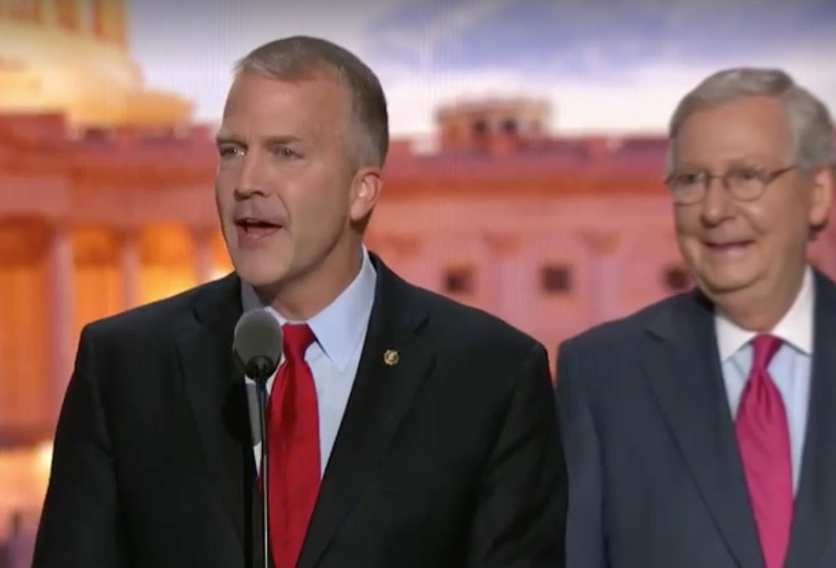 Alaska U.S. Sen. Dan Sullivan addresses the Republican National Convention on Tuesday night in Cleveland. Senate Majority Leader Mitch McConnell, R-Kentucky, watches. (From Republican National Committee video clip)