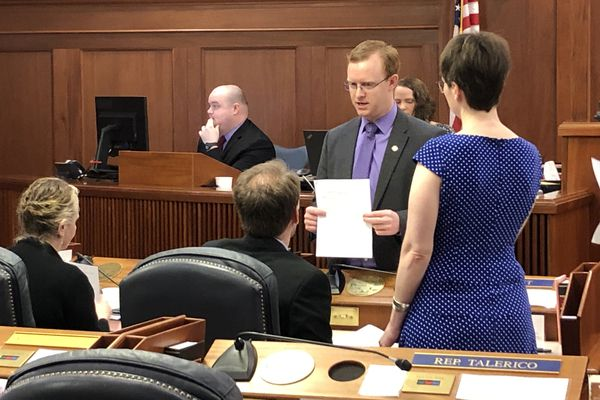 Rep. David Eastman, R-Wasilla, discusses his new Permanent Fund dividend legislation with fellow members of the Republican House minority on Wednesday, May 22, 2019. (James Brooks / ADN)