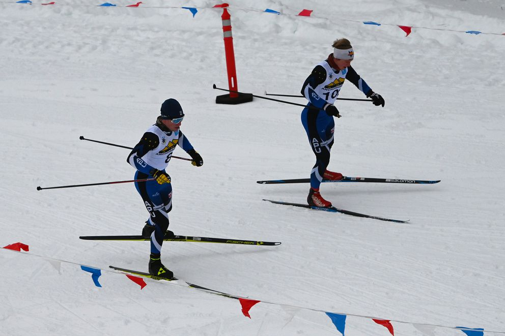Hunter Wonders and Karl Danielson competed in the men's 10K freestyle race during the AMH Anchorage Cup at Kincaid Park on Sunday, Dec. 13, 2020. Wonders finished second and Danielson placed 21st. (Bill Roth / ADN)