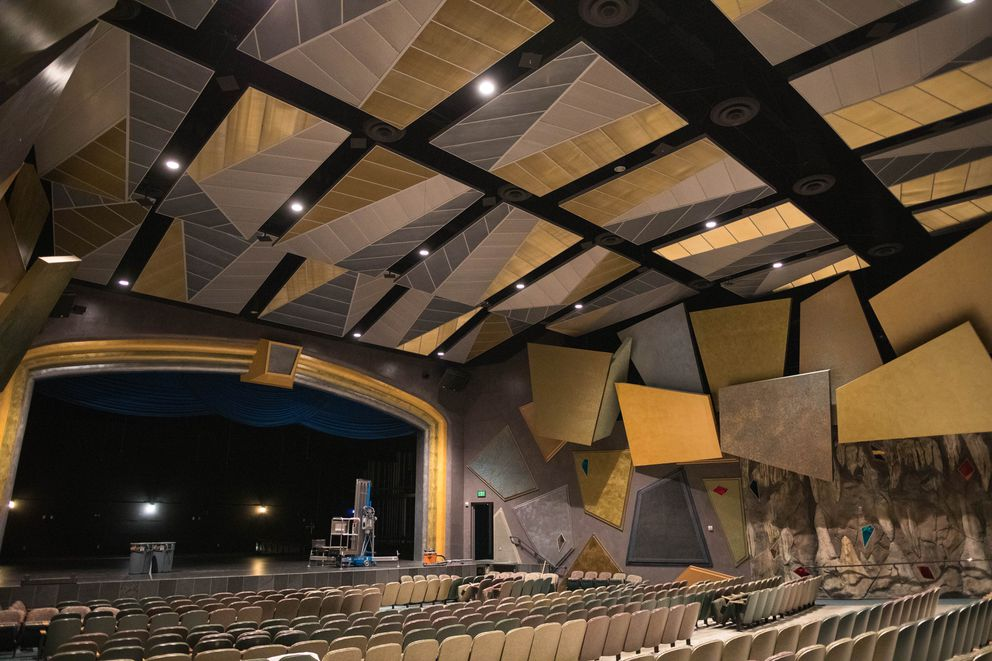 The East High auditorium on Friday. During the Nov. 30 earthquake, acoustical panels on the ceiling came loose and the sprinkler system broke, causing a small flood in part of the room. (Loren Holmes / ADN)