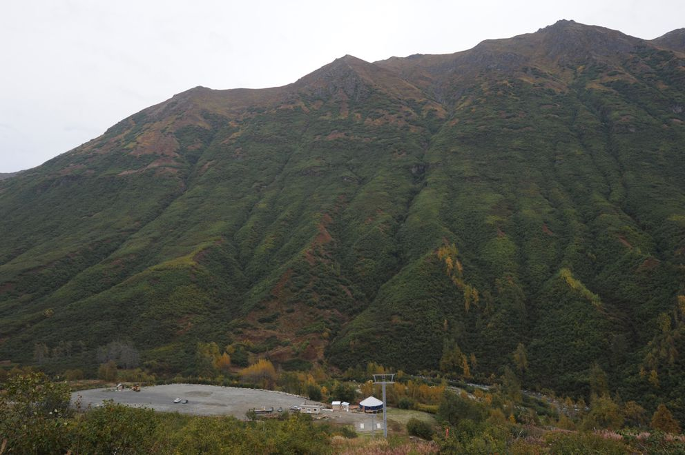 Parking lot and base of the Skeetawk alpine ski area in Hatcher Pass under construction on Thursday, Sept. 12, 2019. The nonprofit ski area plans to begin operating a triple chair lift this winter. (Bill Roth / ADN)