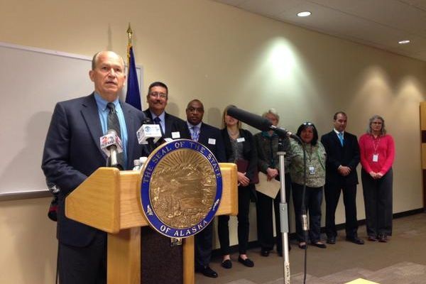 Pictured: Gov. Bill Walker announces that he will use his executive authority to expand the federal Medicaid program.