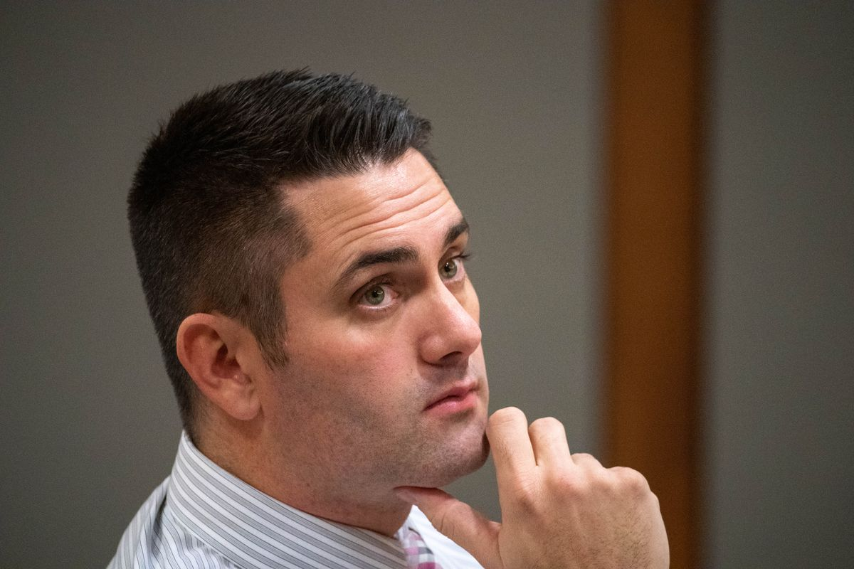 Anchorage dentist Seth Lookhart listens Dec. 3, 2019 during his trial for Medicaid fraud and