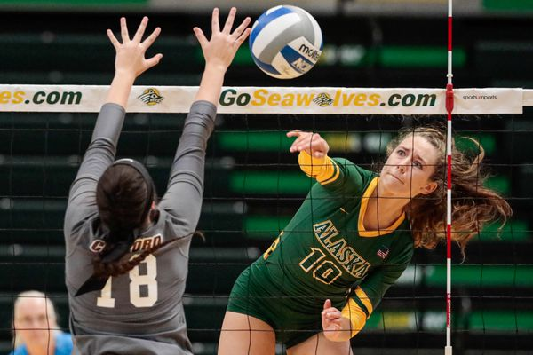 UAA's Hannah Pembroke spikes the ball during a volleyball game against the Concord Mountain Lions Friday, Sept. 6, 2019 at the Alaska Airlines Center. (Loren Holmes / ADN)
