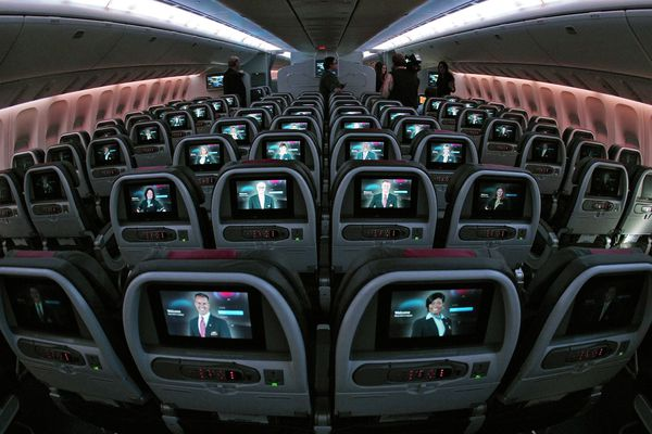 Each seat with an individual monitor in the Main Cabin is featured as the news media was given tours of the aircraft at DFW prior to its departure from Fort Worth, Texas, Jan. 31, 2013. (Paul Moseley/Fort Worth Star-Telegram/MCT)