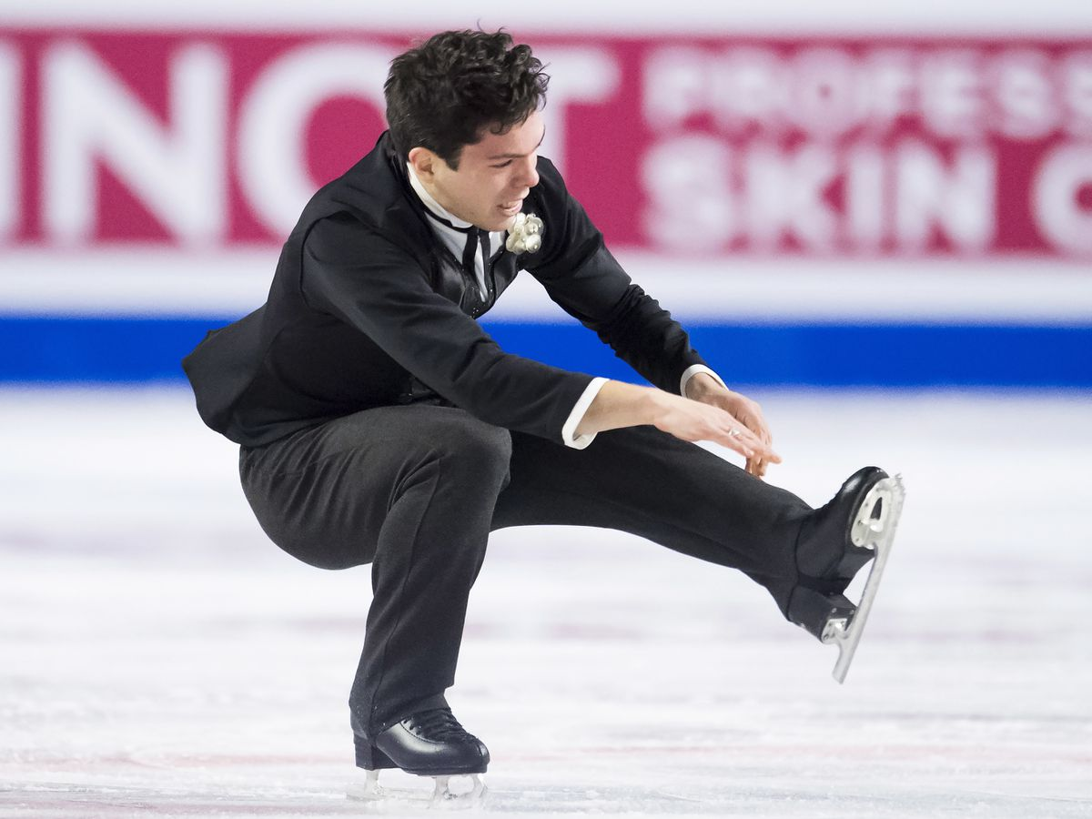 Keegan Messing of Girdwood competes in the men's free skate Friday at the Grand Prix Final in Vancouver, British Columbia. (Jonathan Hayward/The Canadian Press via AP)
