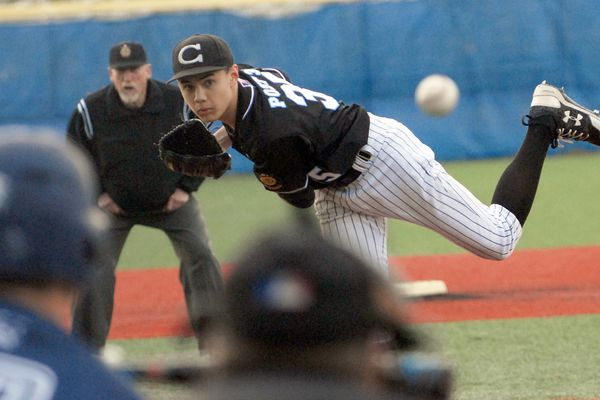 Chugiak pitcher Camden Costanios delivers to the plate during Chugiak's 9-6 Cook Inlet Conference baseball win over Eagle River on Thursday, May 16, 2019 at Bartlett High. (Matt Tunseth / Chugiak-Eagle River Star)