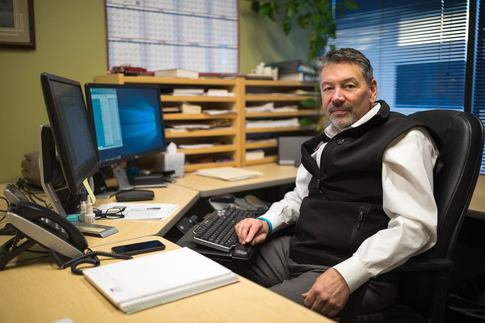 Mike Rabe, managing partner at CRW Engineering Group, in his office Wednesday, Dec. 6, 2017. (Loren Holmes / ADN)