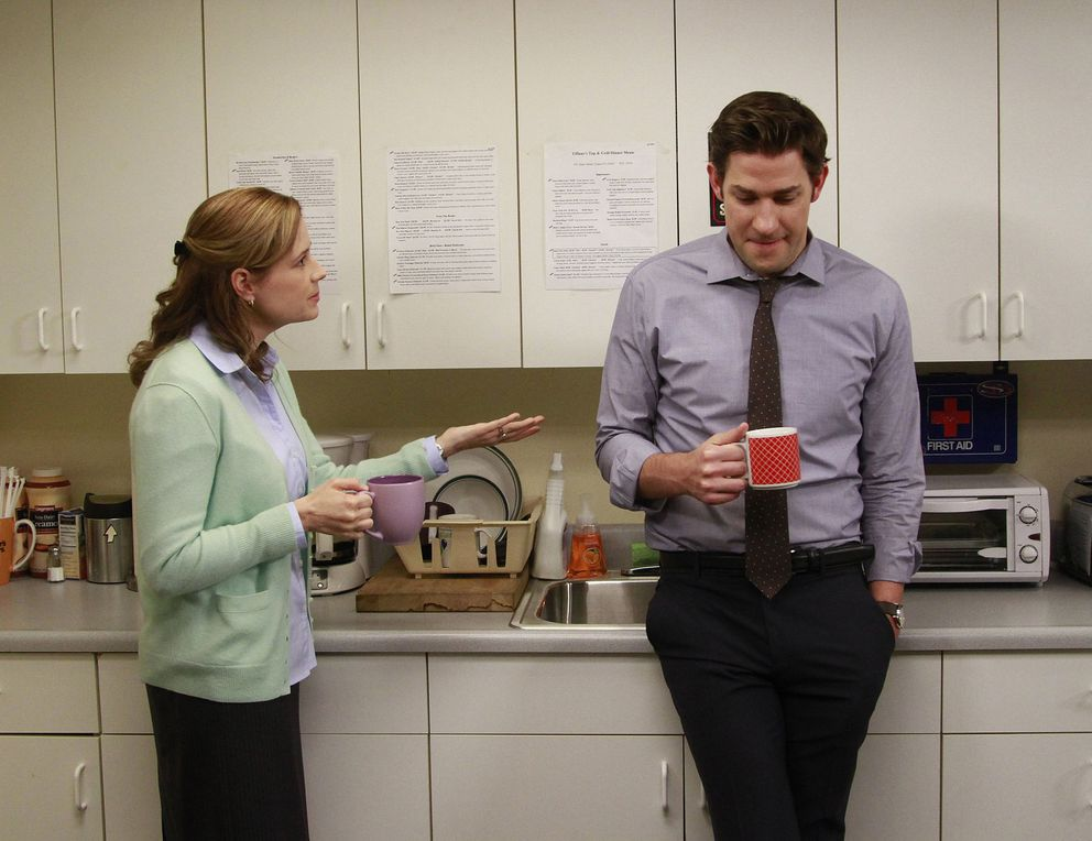 Cast members Jenna Fischer and John Krasinski appear on the set of 'The Office. ' (Kirk McKoy/Los Angeles Times/MCT)