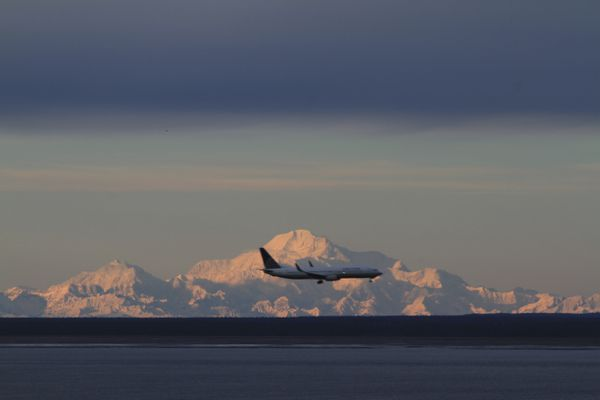 In this file photo from Monday, Nov. 4, 2013, Denali provides a backdrop to a United Airlines jet approaching Ted Stevens Anchorage International Airport viewed from Kincaid Park in Anchorage, Alaska. Alaska's largest airport saw its busiest summer for passenger traffic in 2018. Ted Stevens Anchorage International Airport manager Jim Szczesniak says 1.53 million passengers embarked on flights from May through September, an increase of 68,724 passengers, a nearly 4.5 percent increase over summer traffic in 2017. (AP Photo/Dan Joling)