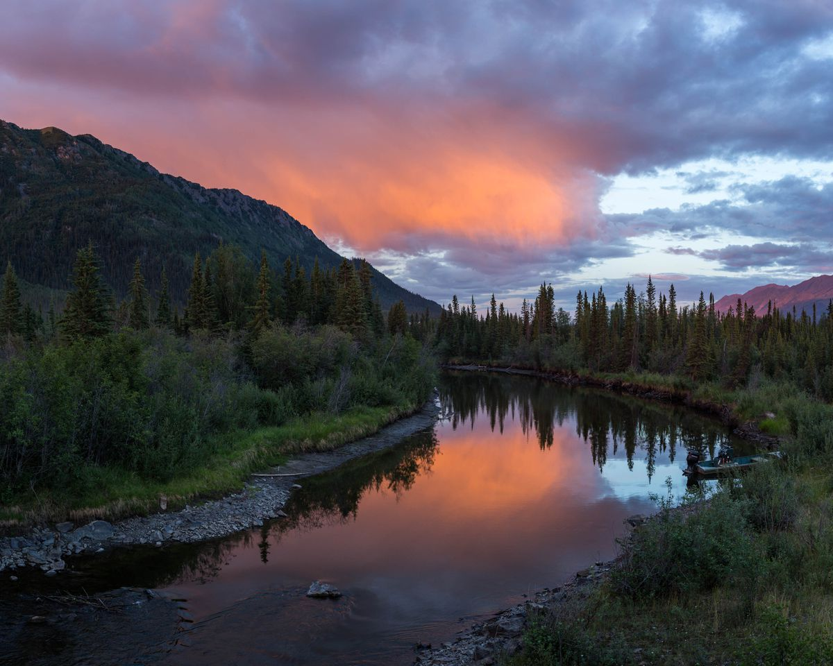 Sunset on a tributary of the White River, south of Beaver Creek, Yukon on Sunday, June 28, 2015. Loren Holmes / ADN