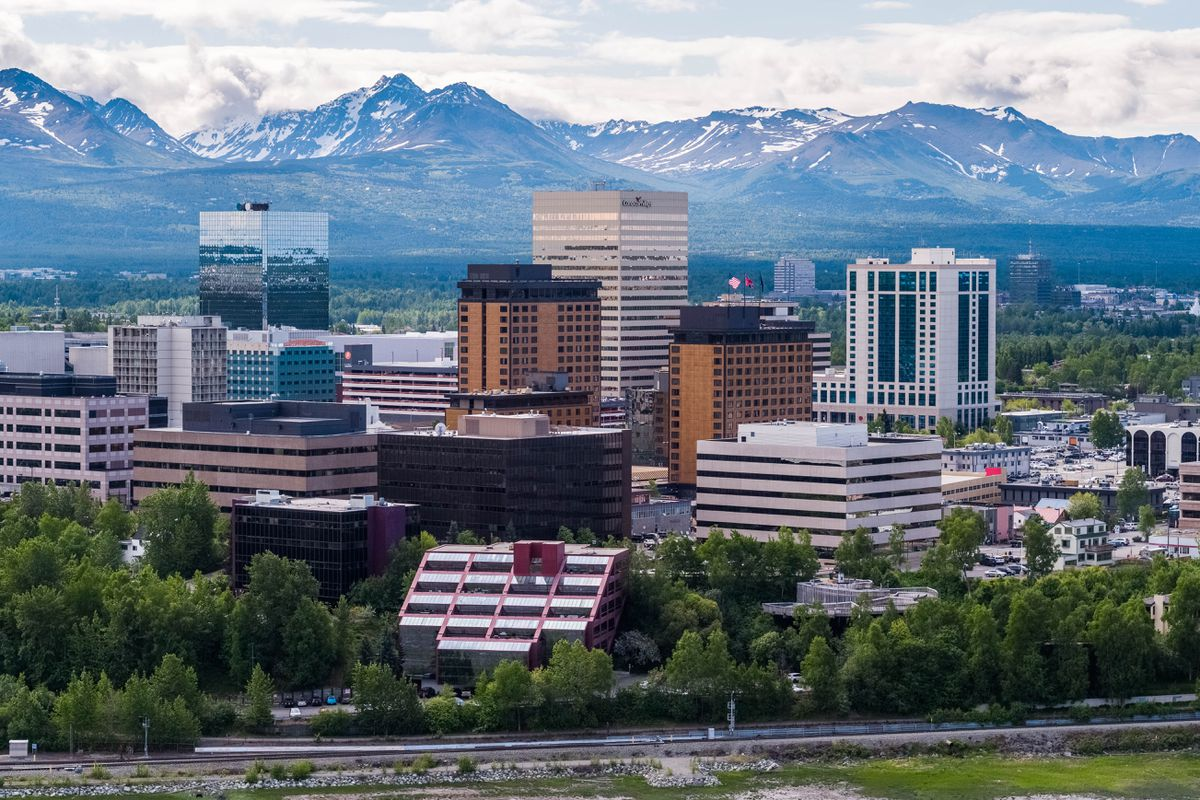 Downtown Anchorage, Alaska on June 12, 2018. (Loren Holmes / ADN)