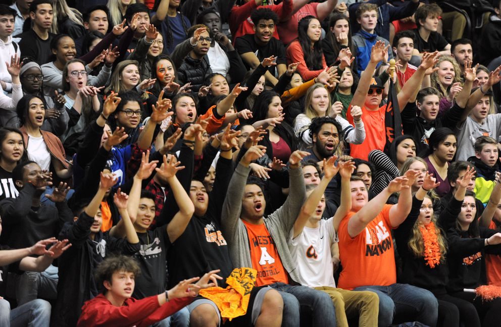 West High students were let out of class to attend Thursday's noon game at the Alaska Airlines Classic. (Bill Roth / ADN)