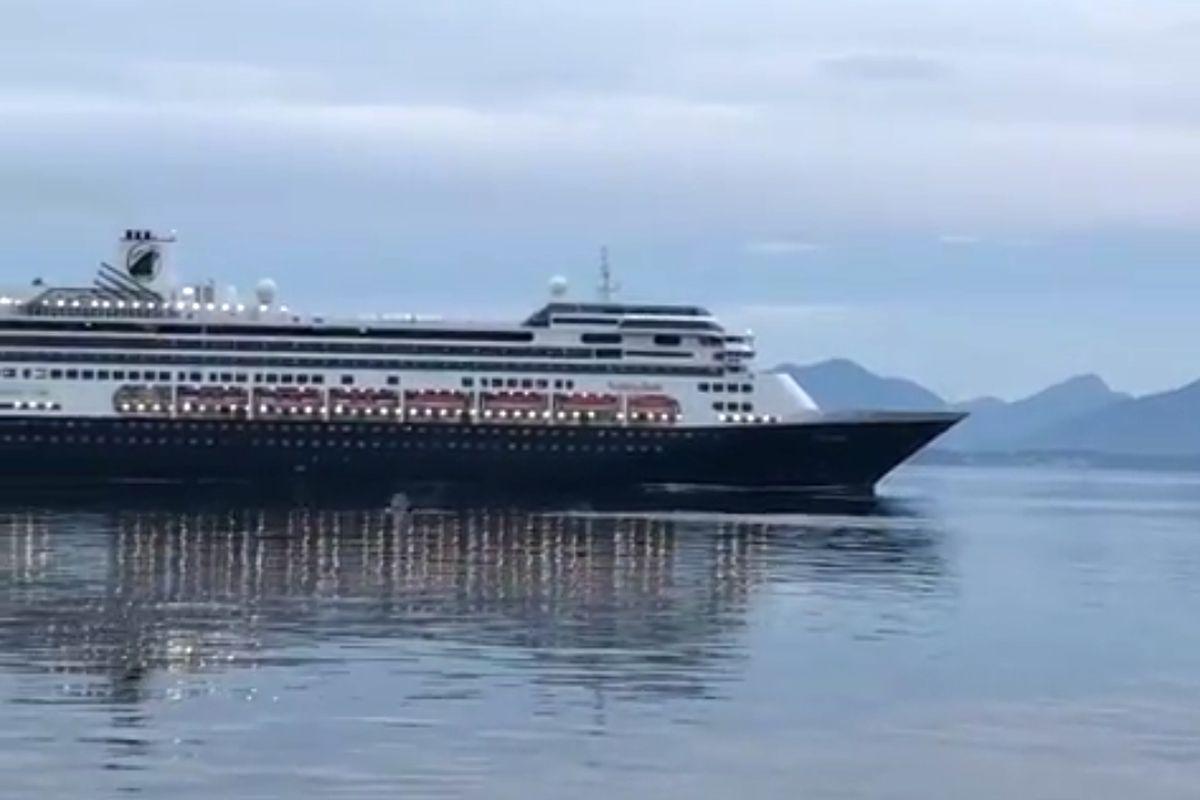 Kristopher Mounsey captured a video of the cruise ship Volendam cruising through a pod of whales near Juneau, Sept. 3, 2019. (Kristopher Mounsey)