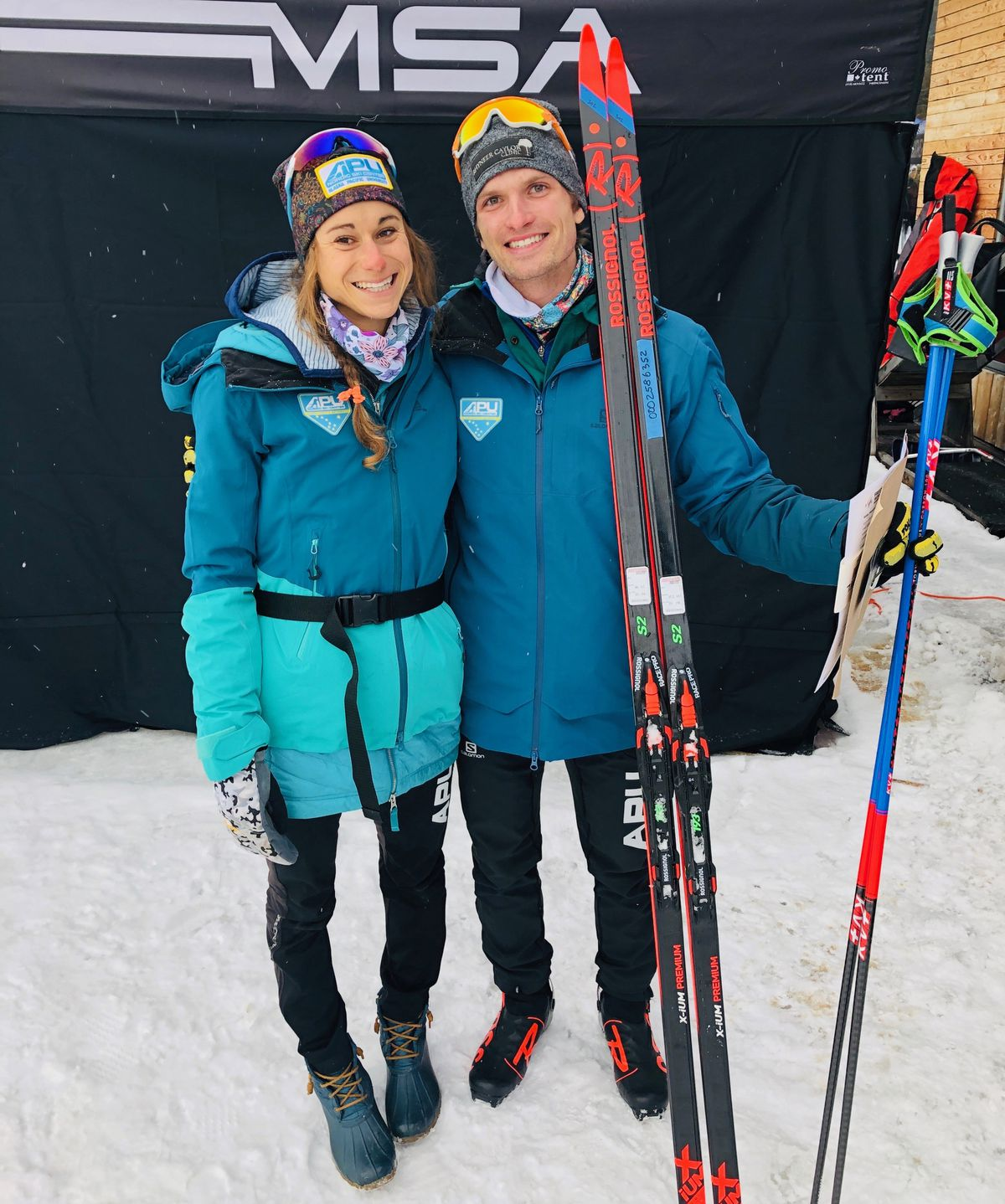 Jessica Yeaton and David Norris moments after Norris won the men's 30-kilometer freestyle race at the 2019 U.S. National Championships in Craftsbury, Vermont. Earlier the same day, Yeaton placed third in the women's 20K freestyle. (Photo courtesy Jessica Yeaton)