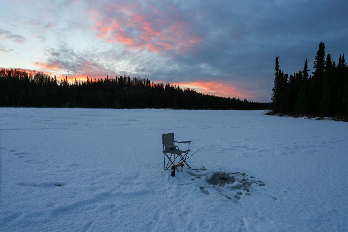 No power equipment is allowed, including power ice augers, but solitude is one of the rewards when you make the effort to fish at a lake in the designated wilderness area of the Kenai National Wildlife Refuge. (Photo by Steve Meyer)