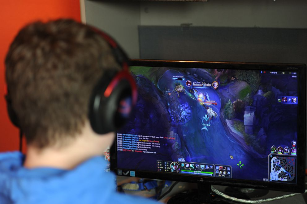 "Steigleman plays the video game ""League of Legends"" at home. (Bill Roth / Alaska Dispatch News)"