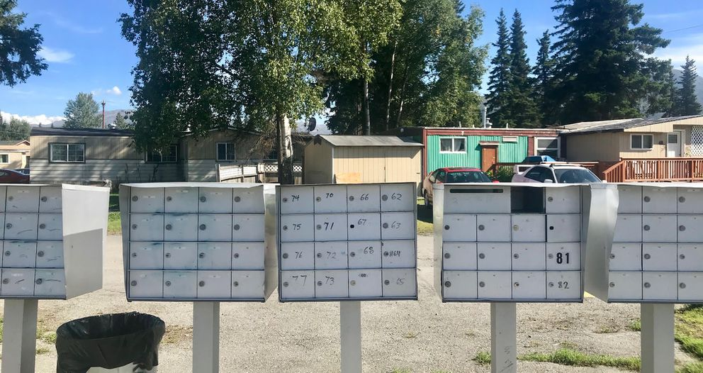 Seventeen different voters listed their address as a single mobile home in this park on Muldoon Road, Aug. 29, 2018. (Kyle Hopkins / ADN)