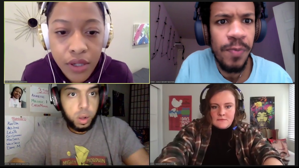 American Conservatory Theater MFA students (clockwise from the top left) Cassandra Hunter, Wesley Guimarães, James Mercer and Madeline Isabel Yagle peform remotely in Perseverance Theatre's virtual co-production 'In Love and Warcraft. '