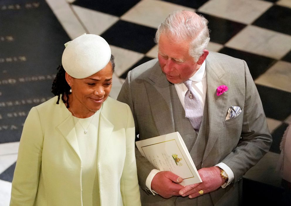 The Prince of Wales and Doria Ragland, mother of the bride, depart from St George's Chapel in Windsor Castle after the wedding of Prince Harry and Meghan Markle Windsor, Britain, May 19, 2018. Owen Humphreys/Pool via REUTERS