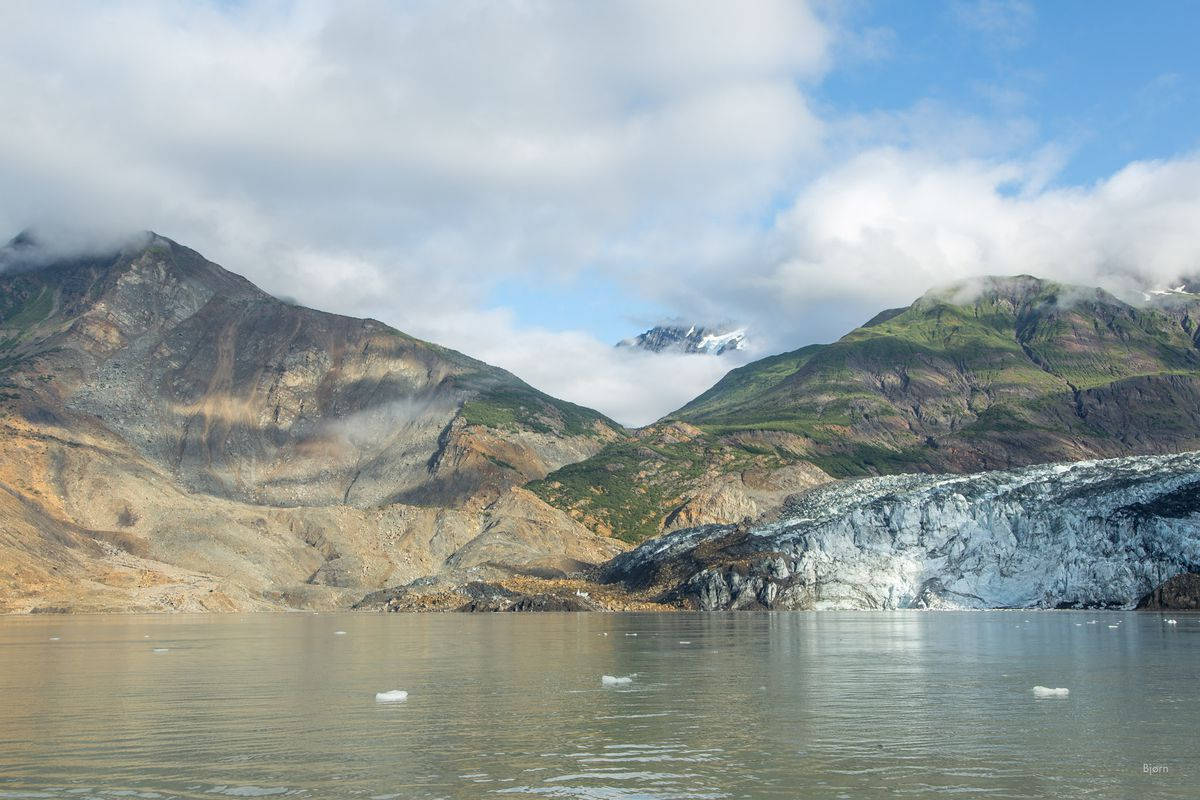 In October 2015, a massive landslide slid into Taan Fjord and created a tsunami in excess of 600 feet. Much of the landslide material was deposited on the Tyndall Glacier and into the fjord. (Bjorn Olson / Ground Truth Trekking)