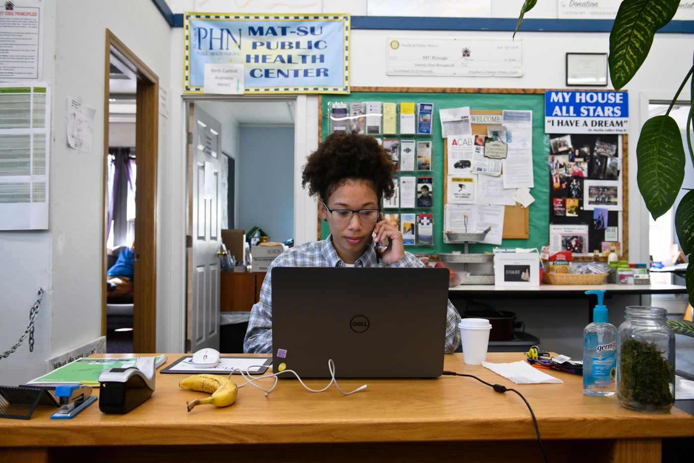 DaJonee' Hale works as a project manager at My House Homeless Youth Center in Wasilla on August 13, 2020. (Marc Lester / Anchorage Daily News)