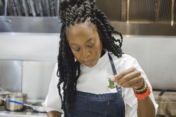Chef Andrea Drummer plans to pair specific strains of cannabis with specific dishes at the forthcoming Lowell Farms cannabis cafe. MUST CREDIT: Photo by Oriana Koren for The Washington Post.