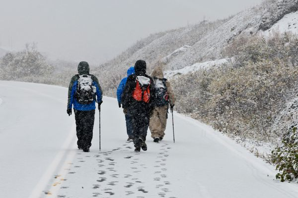 Walkers near Independence Mine leave footprints in the roadway. Snow falls at Hatcher Pass State Recreation Area on September 25, 2019. (Marc Lester / ADN)