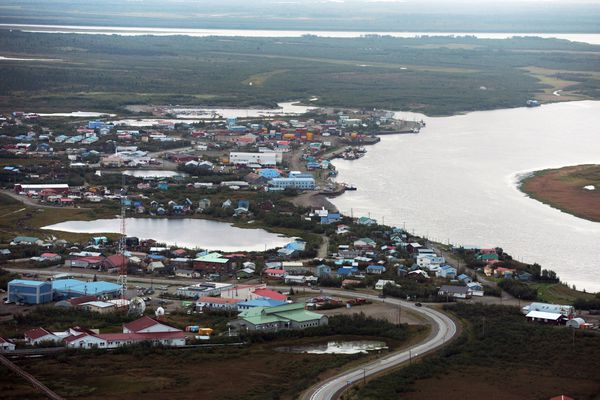 Bethel sits along the Kuskokwim River on Thursday, August 28, 2014, in Southwest Alaska. (Erik Hill / ADN)