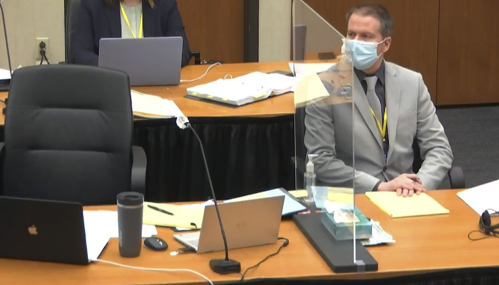 In this image from video, defendant, former Minneapolis police Officer Derek Chauvin, listens as Hennepin County Judge PeterCahill presides Friday, April 9, 2021, in the trial of Chauvin at the Hennepin County Courthouse in Minneapolis, Minn. Chauvin is charged in the May 25, 2020 death of George Floyd. (Court TV via AP, Pool)