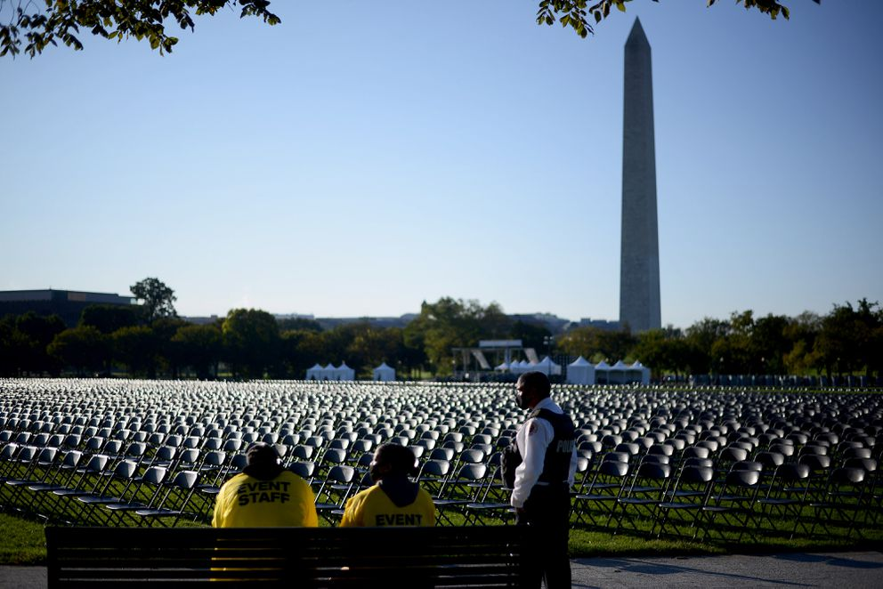 Tens of thousands of empty chairs placed near the White House symbolize the more than 200,000 Americans who have died of covid-19. Photo for The Washington Post by Astrid Riecken