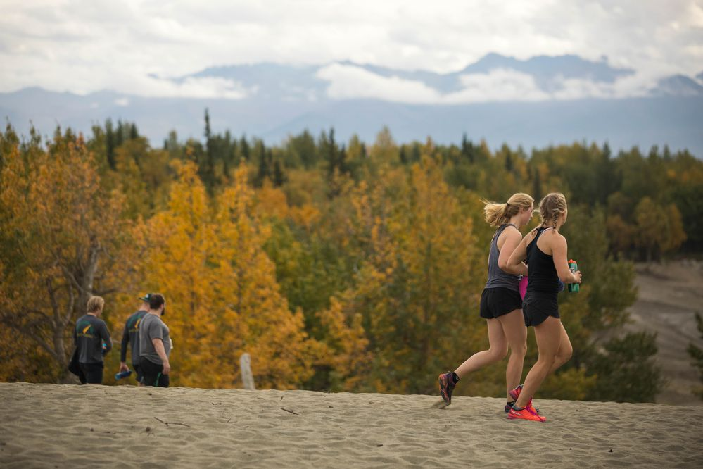 University of Alaska Anchorage athletes run down the Kincaid sand dune Friday, Sept. 21, 2018 after their All Athlete Sand Dune Sprint Sufferfest. The grueling workout is also a team-building exercise, bringing together athletes from the ski team, basketball, track, gymnastics and hockey. (Loren Holmes / ADN)