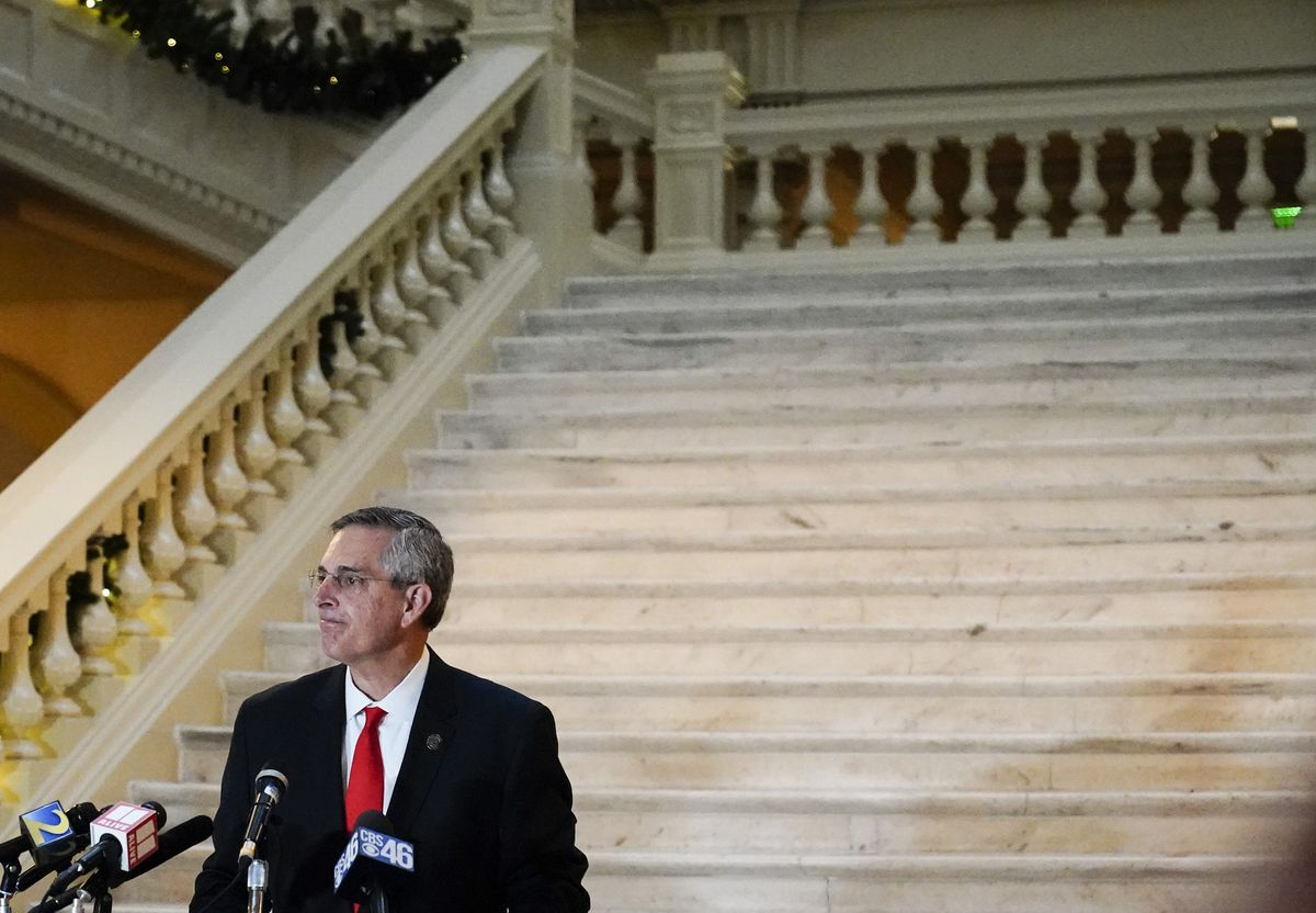 Georgia Secretary of State Brad Raffensperger speaks during a news conference on Monday, Nov. 30, 2020, in Atlanta. He was among the first Republicans to speak out against Trump's false claims of voter fraud. (AP Photo/Brynn Anderson)