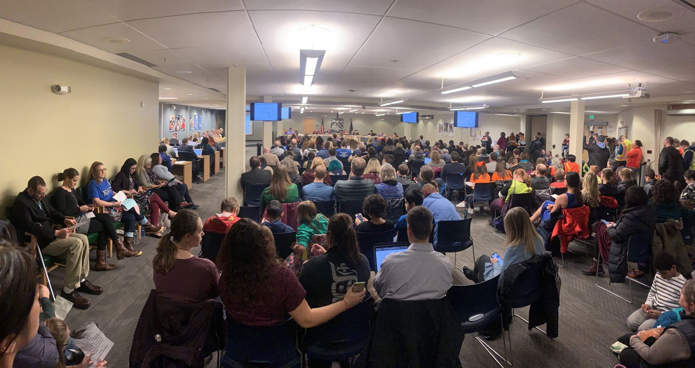 People packed the Anchorage School District Education Center on Tuesday, Feb. 18, 2020 for a meeting of the Anchorage School Board. (Matt Tunseth / ADN)