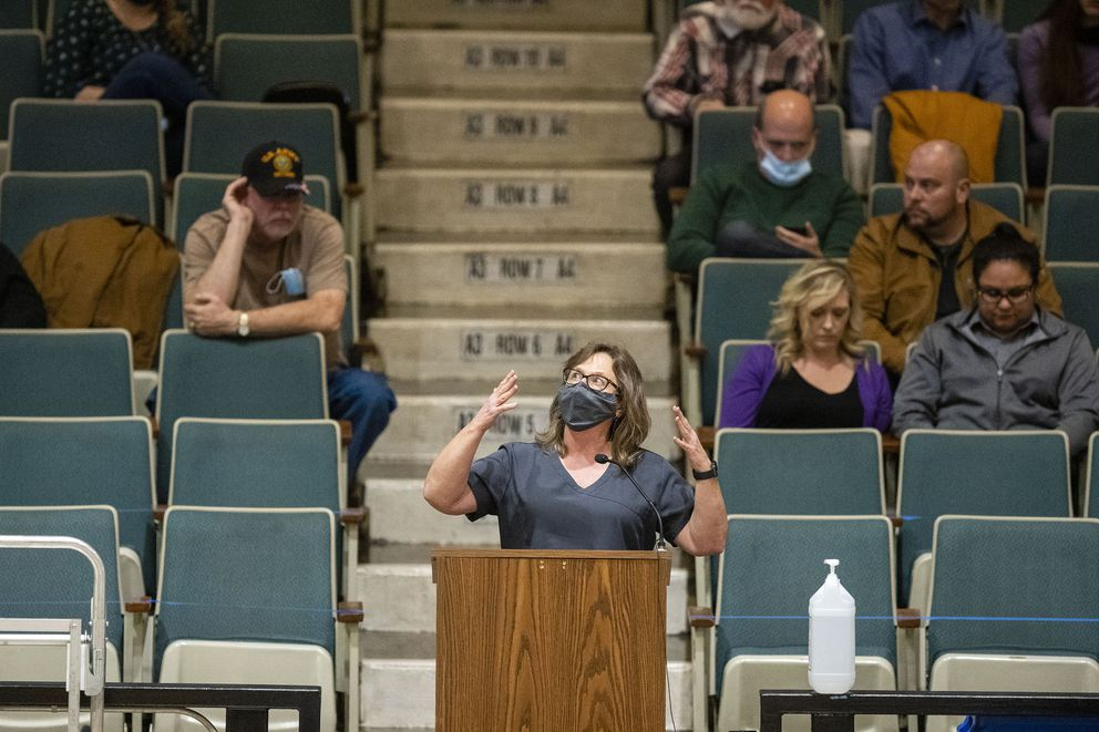 Diane Kenkel, a local nurse practitioner, speaks in favor of the mask mandate at the Mitchell Corn Palace in Mitchell, S.D. (Photo for The Washington Post by KC McGinnis)