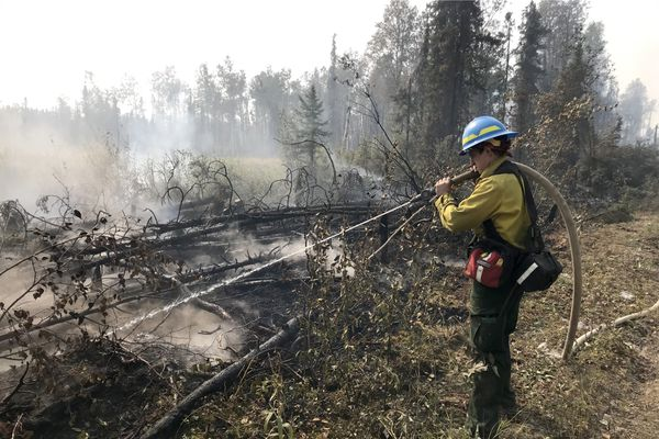 Firefighter Jess St. Laurent with the Chugiak Volunteer Fire Dept. mops up a hot spot on East Swamp Robin Road, Tuesday, Aug. 20, 2019. The McKinley fire continues to burn after flaring up over the weekend, closing the Parks Highway and burning many structures. (Bill Roth / ADN)