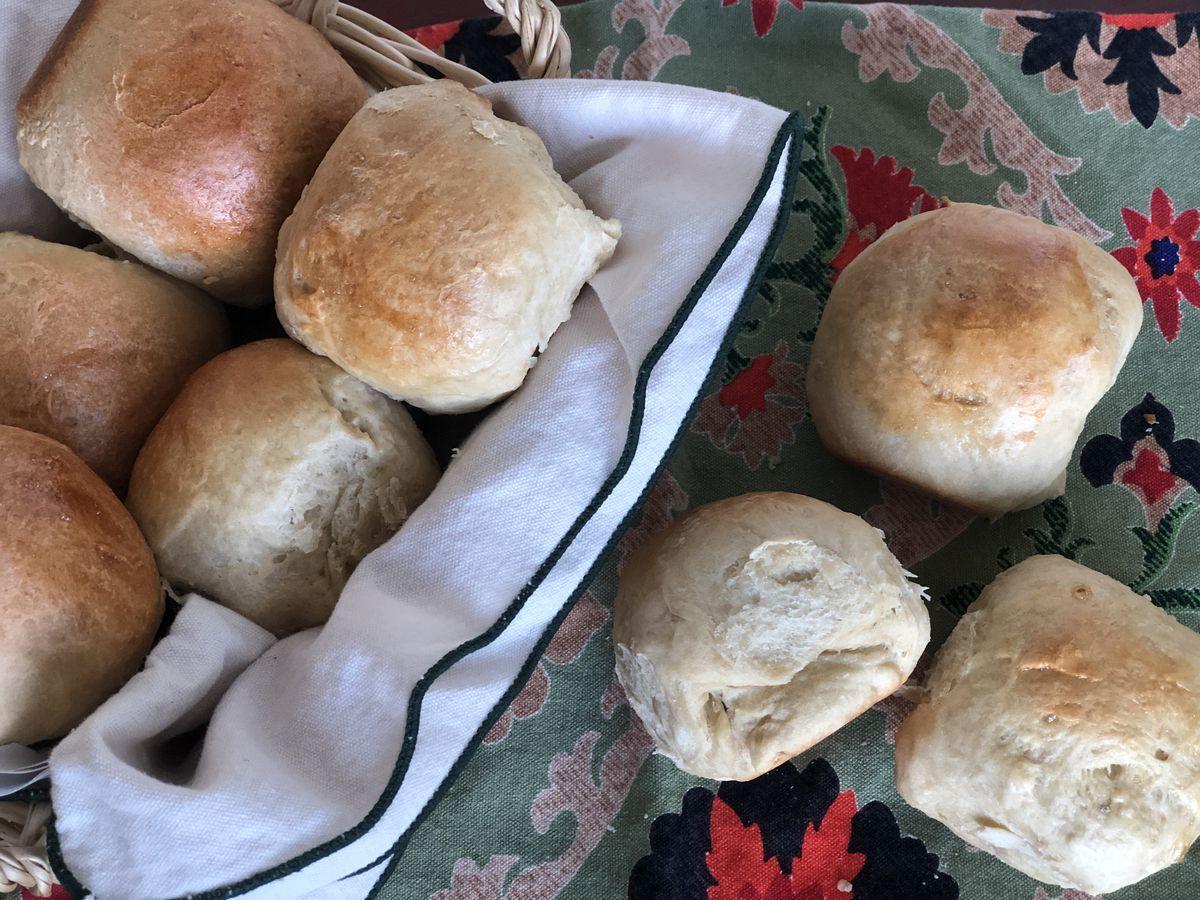 Freshly-baked Hawaiian-style rolls. (Julia O'Malley / ADN)